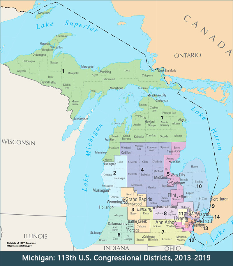 Michigan 113th US HOC districts map 800w912h