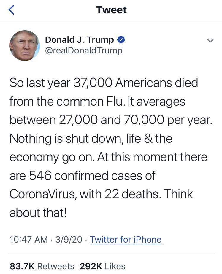 TweetOfTrump 2020 03 09 22Deaths